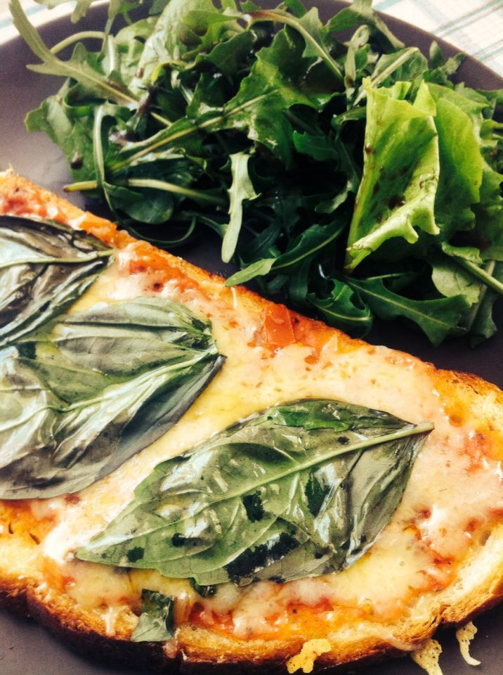 Cheese Toast with Basil & Salad