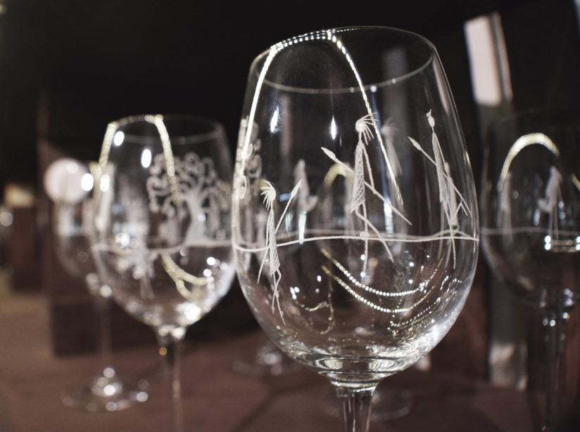 hand-engraved glassware