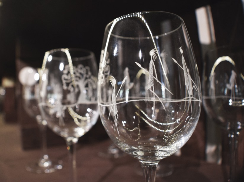 hand-engraved glassware